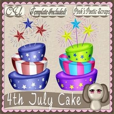 4th July Cake Script (FS-CU-TEMPLATE-PSP SCRIPT) [Pink] : Scrap and Tubes Store, Digital Scrapbooking Supplies