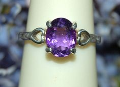 Lovely Purple Amethyst Solitaire Ring Size 7 by WindstoneDesigns, $36.95