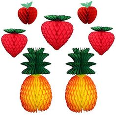 Gorgeous set of seven honeycomb tissue paper fruit decorations - apples, strawberries, and pineapples. Made in USA by Devra Party.