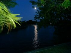 Beautiful full moon over our canal