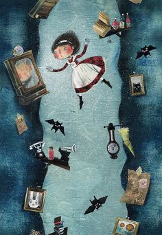 "Maddalena Gerli, ""Alice in Wonderland"" illustration. Why are there bats? Le Terrier, Alice In Wonderland Illustrations, Chesire Cat, Graffiti Artwork, Lewis Carroll, Adventures In Wonderland, Wonderland Alice, Were All Mad Here, Through The Looking Glass"