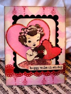 Chronically Vintage: Vintage 365: Darling vintage inspired, handmade Valentine's Day card is sure to warm hearts