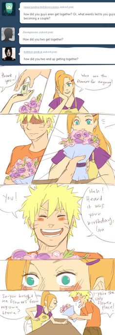 Ino: Thank you~! Who are the flowers for anyway?] Naruto: You! Heard it was your birthday, Ino. [Ino blushuuuuuuuu] Ino: So~ You bought me flowers from my own store? Naruto: Y-You're the only flower place! ((AFTER THAT INO. Naruto Comic, Naruto And Hinata, Naruto Funny, Itachi, Anime Naruto, Naruto Shippuden, Hinata Hyuga, Naruhina, Naruto Couples