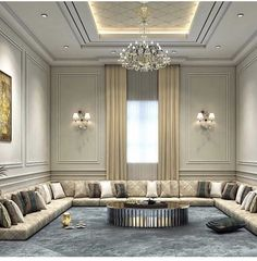 Paying attention to the details of the design is essential in creating a luxury living room interior design Ceiling Design Living Room, Bedroom False Ceiling Design, Home Room Design, Home Design Decor, Interior Design Living Room, Living Room Designs, Arabic Decor, Asian Interior Design, Plafond Design