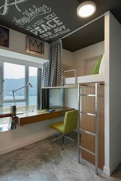 Student apartment in Hong Kong loft bed and desk