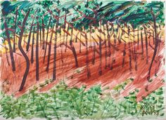 """""""Forest at Sunset,"""" Milton Avery, 1943, watercolor on paper, 22 × 30"""", the Milton and Sally Avery Arts Foundation."""