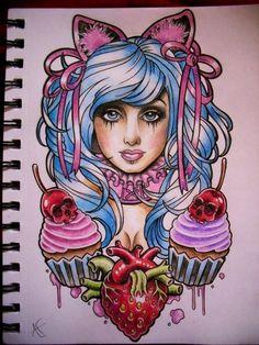 Sugar Girl tattoo design by Frosttattoo cupcake skull cherry strawberry Flash Art ~A.R.