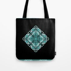 Buy Pattern turquoise and black 1 Tote Bag by Christine baessler. Worldwide shipping available at Society6.com. Just one of millions of high quality products available.