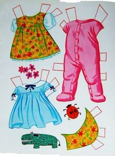 baby cheerful tearful paper doll outfits 1968