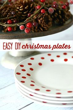 Darling and super easy to make DIY Christmas Plates...and they cost only a little over a $1 each! | simplykierste.com