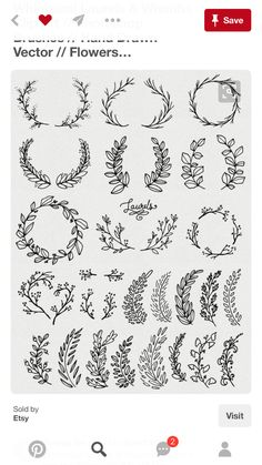 Whimsical Laurels & Wreaths Clip Art // Photoshop Brushes PNG Files // Hand Drawn Vector Flowers Blossoms Foliage Berries // Commercial Use CLIP ART: Whimsical Laurels & Wreaths // par thePENandBRUSH sur Etsy - Cartilage Piercing Photoshop Brushes, Kranz Tattoo, Vector Flowers, Bullet Journal Inspiration, Bujo Inspiration, Tattoo Inspiration, Art Drawings, Drawings On Hands, Hand Lettering