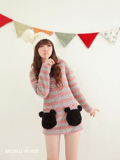 Mango Doll - Striped Bear Pocket Sweater , $46.00 (http://www.mangodoll.com/all-items/striped-bear-pocket-sweater/)