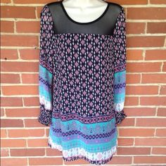 NWT Pattern Shift Dress Tunic Size S So chic! Perfect with bare legs or leggings! Boutique Dresses