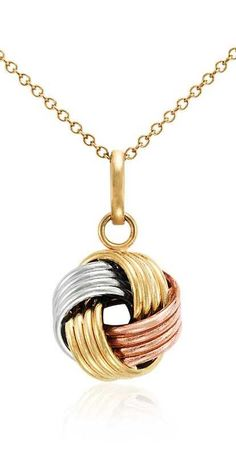 This tri-color love knot pendant is intricately woven from lightweight hollow links in 14k white, rose and yellow gold, with a matching cable chain.