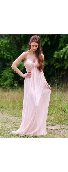 Lily Boutique Part of the Bridal Party Chiffon Maxi Dress in Pale Pink, $70 Pale Pink Maxi Bridesmaid Dress, Blush Pink Bridesmaid Dress, Pale Pink Prom Dress www.lilyboutique.com
