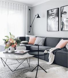 Amazing Modern Living Room Scandinavian Decoration for Your Home Living Pequeños, Living Room Grey, Living Room Interior, Home Interior Design, Home And Living, Living Room Furniture, Living Room Decor, Small Living, Living Spaces