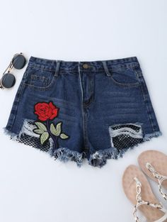 SHARE & Get it FREE | Mesh Panel Floral Embroidered Denim Shorts - Denim BlueFor Fashion Lovers only:80,000+ Items • New Arrivals Daily Join Zaful: Get YOUR $50 NOW!