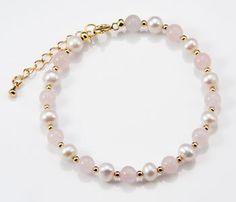 Freshwater Pearl and Rose Quartz Bracelet by Jennifer Rose | Jennifer Rose Jewellery