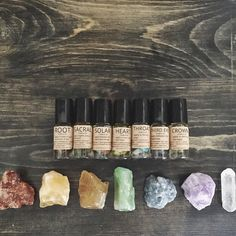 CHAKRA OIL SET, crystal infused oils- vegan, cruelty-free