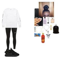 """""""~ school outfit ~"""" by foodislyfe ❤ liked on Polyvore featuring NIKE, Billabong, JanSport, Elie Saab, philosophy, Maybelline, Phyllis + Rosie, Kate Spade, River Island and MANGO"""