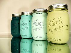 Home / Office / Dorm Decor  Painted Mason Jars  by BeachBlues, $24.00