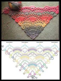 free crochet shawl pattern in Ravelry. Fingering wt yarn and H hook. Poncho Au Crochet, Beau Crochet, Crochet Diy, Crochet Shawls And Wraps, Crochet Motifs, Crochet Diagram, Crochet Stitches Patterns, Crochet Chart, Crochet Scarves