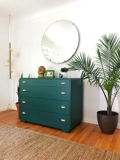 Excited to share this item from my shop: Art Deco dresser redefined in dark green and polished brass drawer pulls and large round mirror Plywood Furniture, Green Furniture, Upcycled Furniture, Bedroom Furniture, Mirror Furniture, Office Furniture, Furniture Ideas, Green Dresser, Colorful Dresser