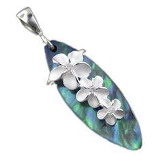 925 Silver Abalone Paua Surfboard w/ 3 Plumeria Pendant Hawaiian Silver Jewelry