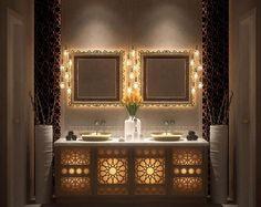 salles de bain : les effets de lumière permettent une ambiance feutrée et chaleureuse. Style marocain boho chic