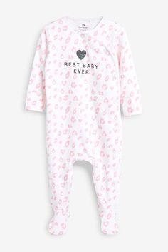 Vêtements filles (0-24 mois) Next Baby Girls Sleepsuit Âge 0-3 Mois Rose Motif de Cœur Pyjamas
