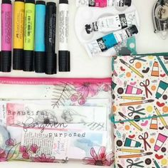 """It seriously is one of my favorite things to do, """"kitting"""". I love going through my supplies to find coordinating markers, paints, and additional stickers. As soon as I got the new Illustrated Faith devotional kit in the mail, I wanted to show you not only what's inside but what I've pulled together and added to my Illustrated Faith organizational bag shown earlier... Enjoy!!!"""