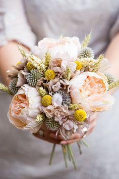 Peach peony country meadow bridal bouquet by PumpkinandPye on Etsy Wedding Pics, Wedding Flowers, Wedding Ideas, Carnation Bouquet, Peach Peonies, Country Style Wedding, Small Bouquet, Peony Flower, Woodland Wedding