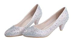 Littleboutique 2015 Round Toe Comfortable Mid-Heel Pumps Glitter Pumps Dress Heel Bridal Shoes Low Heel silver 7