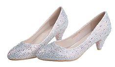 Littleboutique 2015 Round Toe Comfortable Mid-Heel Pumps Glitter Pumps Dress Heel Bridal Shoes Low Heel silver 7