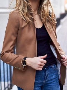#pretty #winter #outfits /  Camel Blazer // Black Top // Denim