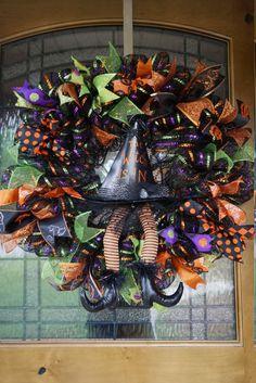 Witch Hat Wreath, Witch Wreath, Halloween Wreath, Halloween Door Hanger, Witch…