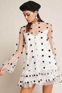 60s 70s polka dot mini dress