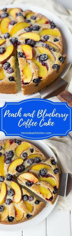 Peach and Blueberry Coffee Cake is a great recipe that incorporates delicious seasonal fruits and berries. This scrumptious summer dessert is easy to make and will become your new family favorite!