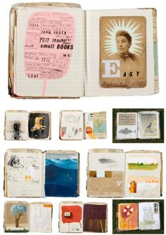 """An amazingly chock-full sketchbook, the collective work of 4 artists. Just beautiful! The backstory:""""In 2004, NY artist Oliver Jeffers, would exchange a sketchbook with 3 other artists…"""