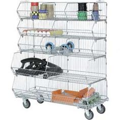 "Bins, Totes & Containers | Bins-Shelving System | Modular Wire Stacking Bin Basket Rack, 48""W x 20""D x 51""H, 5 Wire Bins 