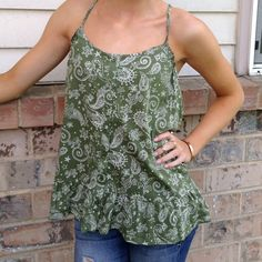ARMY GREEN PAISLEY TOP Button up. 90% cotton 10% polyester. One Step Up Tops