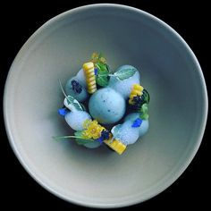 Blue cheese,Ink fish inked sponge cake,Coconut milk foam,Cucumber flower, blue borage flower,Micro pea sprouts,sage by @chef_yankavi ______________________________________________________ * © Chefs / Submit #GourmetArtistry * Follow us for daily food plating inspiration @gourmetartistry * Tag your friends