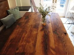 So let us take you in a reclaimed plank table ideas journey so you get pinning and saving for later to help you decide what can be done to improve your home. These reclaimed plank table ideas will assist you with figuring out what innovative ideas you can go for when choosing to create that unique furniture piece you will love to own, and, who knows, maybe you can even turn these into doing it yourself projects, shall you be one of those handy artsy people. Table Top Design, Table, Wood Planks, Plank Table, Reclaimed Wood Table, Living Room Paint, Interior Paint, Wood Table, Farmhouse Interior