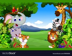 Funny animal cartoon with forest background Vector Image Jungle Animals Pictures, Cartoon Jungle Animals, Animal Pictures For Kids, Animals For Kids, Animal Print Background, Forest Background, Cartoon Background, Classroom Wall Decor, Adobe Illustrator