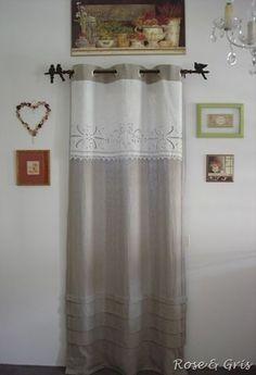 T te de rideau tissu ancien r cup couture pinterest - Rideau campagnard ...