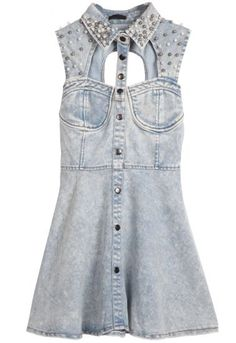 Light Blue Sleeveless Sequined Hollow Backless Denim Dress.... I'd totally wear this!