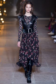 Black Dress with Petite Flowers by Isabel Marant Fall 2017 Ready-to-Wear Collection Photos - Vogue