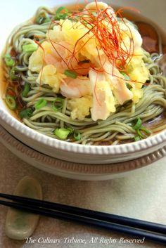 Green Tea Soba Noodle Soup with Seafood Tempura
