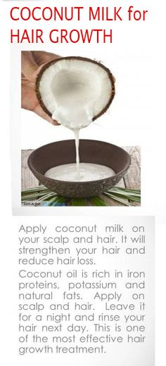 DIY natural coconut milk protein hair treatment. Uses for coconut oil also discussed.