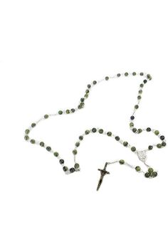 Benedict cross rosary beads silver chain 50cm length necklace Round red St
